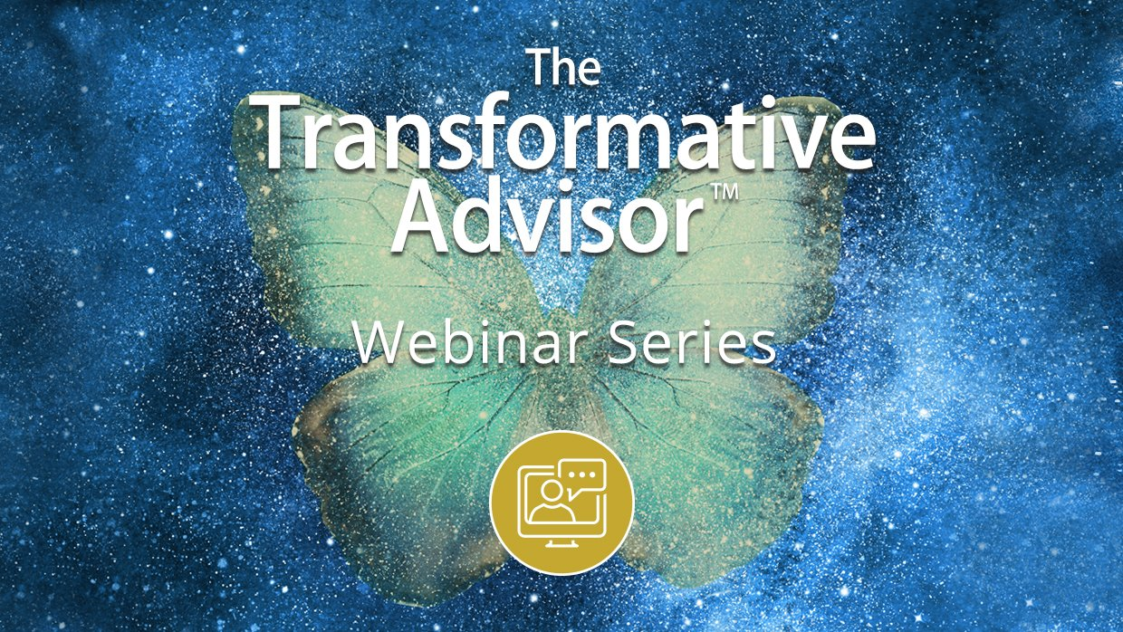 A green butterfly in space with text on top of the butterfly 'Transformative Advisor Webinar Series' below the white text is a sybol/icon in a yellow circle - a simple white line drawing of a person in a computer screen with a speech bubble.
