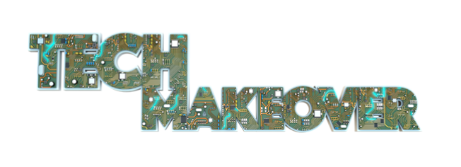 Green and gold thick text that mimics a motherboard spells out Tech Makeover