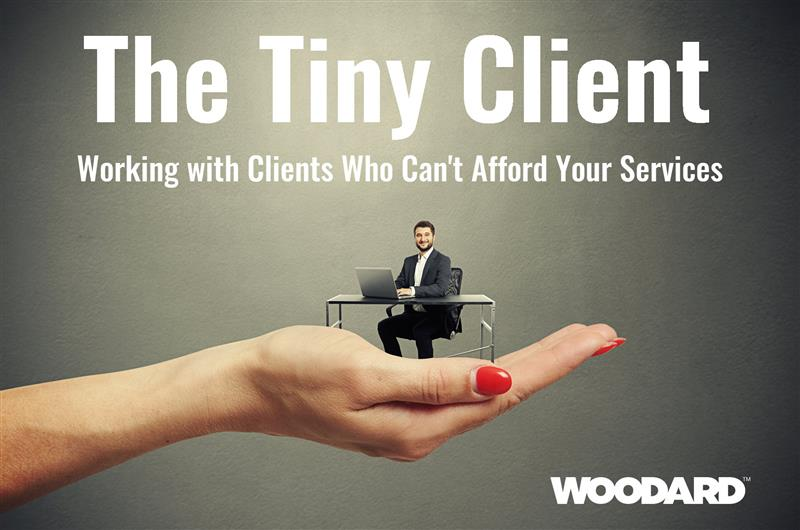 Womans hand holding a miniaturized businessman who is sitting at a desk. Text reads The Tiny Client Working with Clients Who Cant Afford Your Services